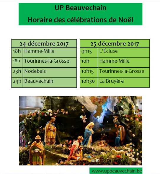 Horaire des messes de Noël UPBeauvechain